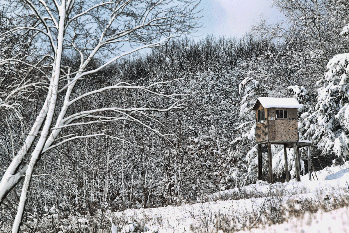 Elevated, Wooden Box Blind in the Snow
